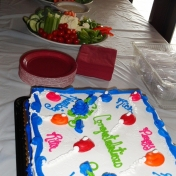 Vegetable trays and cake
