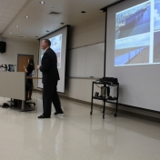 Ben Robinson addresses School of Business students and faculty