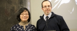 Dr. Qian Xiao (l) with Matt Schumacher