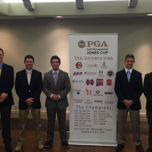 2015 EKU Jones Cup Team: (l-r) Wolfers, Collet, Bratcher, Molen and Kimmel